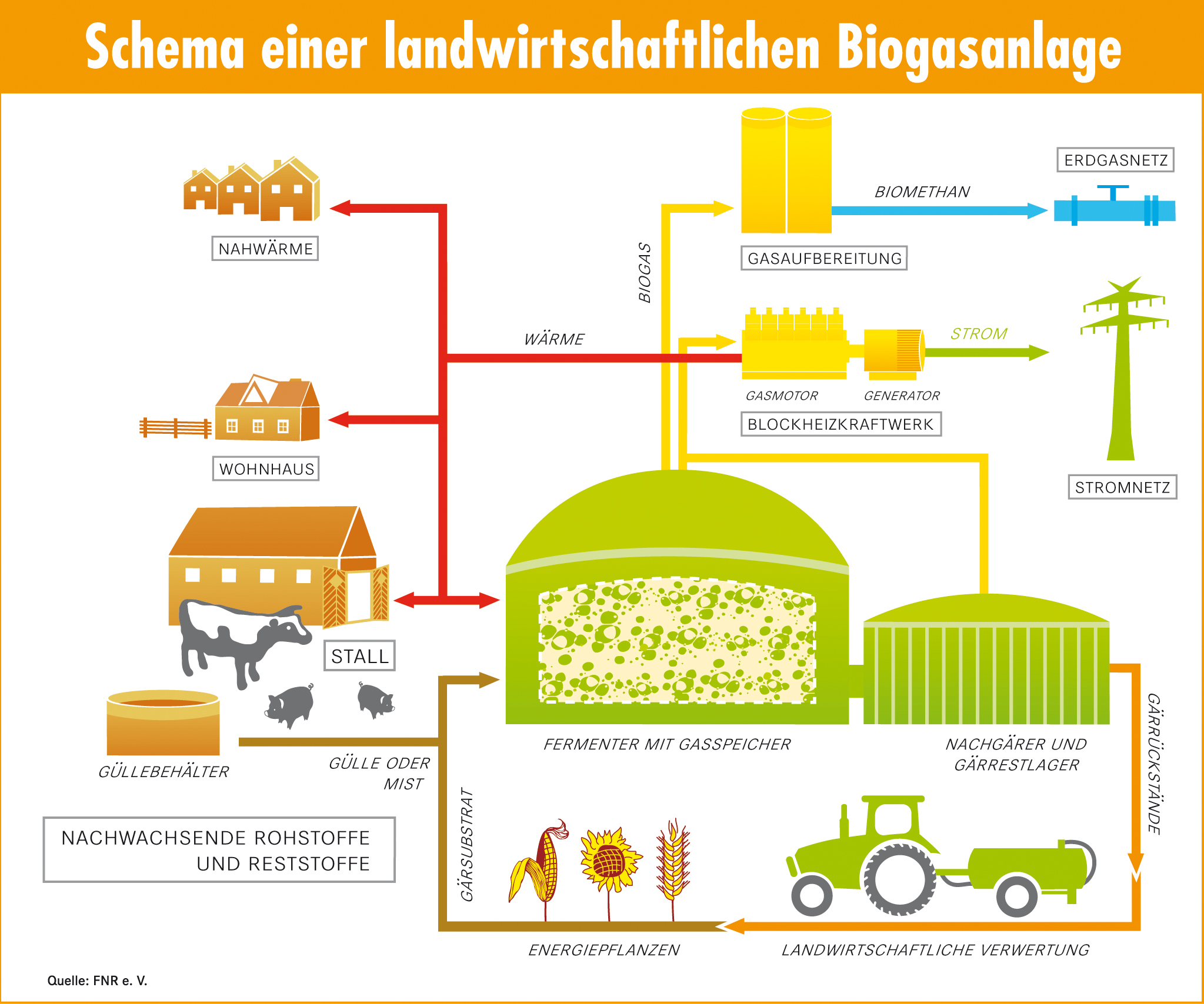 fnr biogas schema einer landwirtschaftlichen biogasanlage. Black Bedroom Furniture Sets. Home Design Ideas